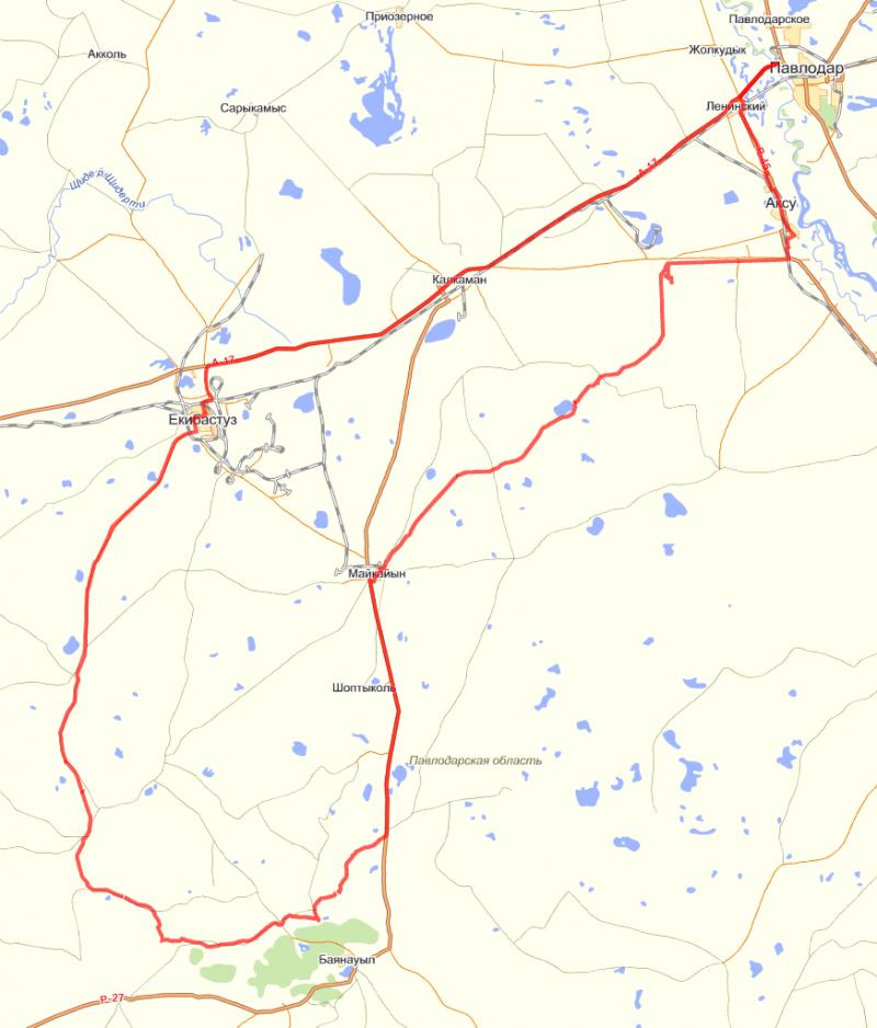 Нитка маршрута на топографической карте (maps.yandex.ru).