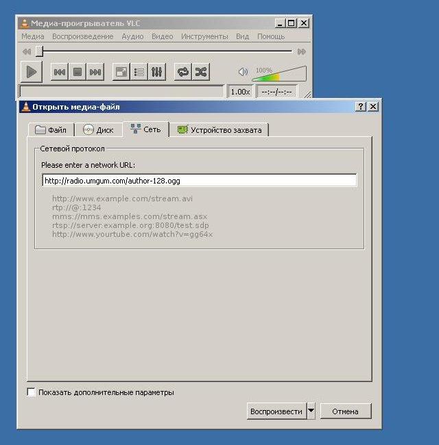 VLC: Сообщаем URL потока.